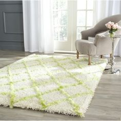 Safavieh Moroccan Shag Ivory/ Green Rug (8' x 10') - Overstock™ Shopping - Great Deals on Safavieh 7x9 - 10x14 Rugs