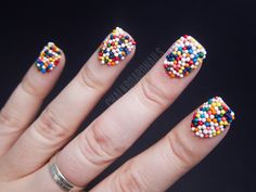 Bloggers share their favorite and most outrageous nails! Sarah Waite shows off her candy nails manicure.