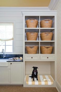 Ways to Incorporate Pet Items into Your Home Décor Built in dog bed in laundry room. MoreBuilt in dog bed in laundry room. Rustic Laundry Rooms, Farmhouse Laundry Room, Laundry Room Design, Laundry Room Ideas Stacked, Kitchen Design, Laundry Room Cabinets, Laundry Room Organization, Diy Cabinets, White Cabinets