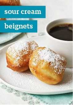 Let us walk you through making tender, golden-brown Sour Cream Beignets from scratch. We'll take you through these tasty Sour Cream Beignets, step by step. Brunch Recipes, Sweet Recipes, Dessert Recipes, Beignet Recipe, Muffins, Delicious Desserts, Yummy Food, Kraft Recipes, Breakfast Items