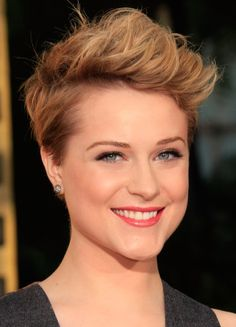 Having recently chopped her hair off, Evan Rachel Wood showed off her new look by sporting a pompadour. A volumizing product, round brush, and hair dryer is Formal Hairstyles For Short Hair, Short Hair Styles Easy, Short Hair Cuts For Women, Pixie Haircut, Hairstyles Haircuts, Curly Hair Styles, Pixie Updo, Messy Pixie, Woman Hairstyles