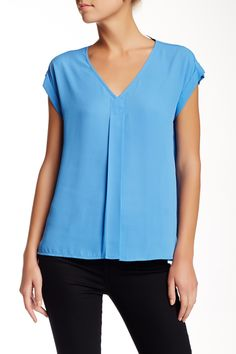 Pleated V-Neck Blouse (Petite) by Pleione on @nordstrom_rack
