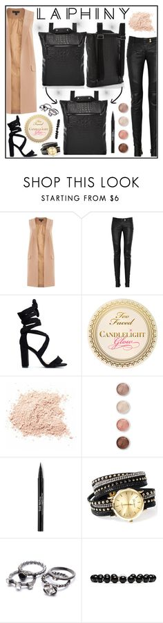 """""""Laphiny"""" by gaby-mil ❤ liked on Polyvore featuring Lipsy, Balmain, Terre Mère, Trish McEvoy, Gucci, modern, backpack, bags and laphiny"""