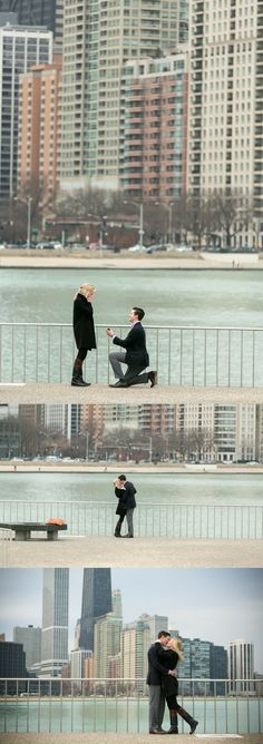 This marriage proposal in Chicago is beyond gorgeous, and right in front of the pier with a perfect view of the city.