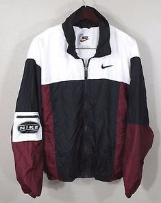 Vintage Nike Windbreaker Jacket Large Red White Blk 90s Retro Og Hip Hop Track I Spent Literally a whole evening looking for this perfection couldn't find it's sold everywhere