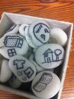 Story Stones- create and make stories using stones to support children's thinking. they can design their own stones then mix them up and choose three to write a simple story. Therapy Tools, Play Therapy, Therapy Activities, Art Therapy, Therapy Ideas, Family Therapy, Social Work, Social Skills, Once Upon A Time
