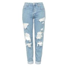 Topshop Moto Super Rip Hayden Jeans ❤ liked on Polyvore featuring jeans, blue ripped jeans, low rise distressed boyfriend jeans, ripped jeans, torn jeans and slouchy boyfriend jeans