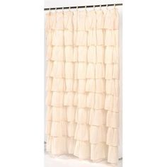 Carnation Home Fashions Carmen Crushed Voile Ruffled Tier Fabric Shower Curtain as window treatments for Hallie's room.