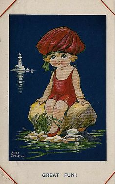 One of a series of 6 Fred Spurgin postcards sent in 1917 by my great-uncle William Long to his wife Grace, while he was training before being posted to the front in France. Bridge Card, Lighthouse Art, Bathing Beauties, Illustrations, Vintage Postcards, Ephemera, Summer Time, Sea Shells, Retro