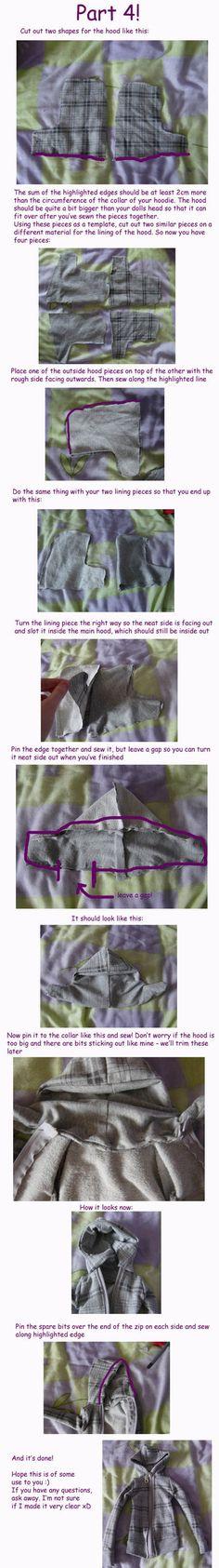 Pattern for a bjd hoodie