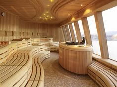 Nice looking sauna but again Wrong, wrong and wrong. You dont panel or build sauna like this! Modern Saunas, Sauna Steam Room, Sauna Room, Steam Bath, Building A Sauna, Sauna Design, Finnish Sauna, Spa Rooms, Houses