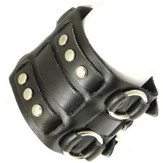 Neptune Giftware Black Leather Wide Triple Strap Cuff Wrap Gothic... ❤ liked on Polyvore
