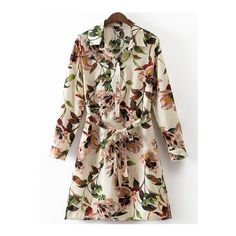 SheIn(sheinside) Multicolor Split Side Tie-Waist Flowers Print Shirt... (37 AUD) ❤ liked on Polyvore featuring dresses, multicolor, short-sleeve shift dresses, long sleeve dress, floral dresses, button shirt dress and shift dress