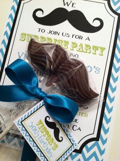 Chocolate Mustache Lollipop Favor with Satin Bow. $17.50, via Etsy.