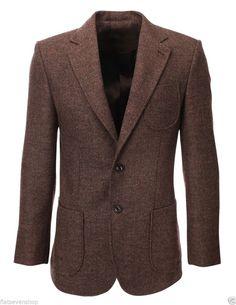 FLATSEVEN Mens Herringbone Wool Blazer Jacket with Elbow Patches (BJ902) #FLATSEVEN