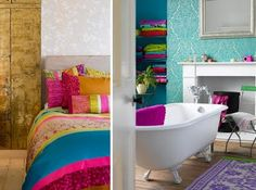 Don't restrict using bright colours to family rooms; bathrooms and bedrooms can also be included – use plenty of textures, silk, satin, velvet for example, to give a bedroom a vibrant but welcoming look. Bright colours always sit comfortably next to white, so you can't go wrong if you have a white bath.