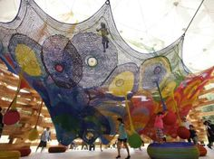 Crocheted Playgrounds by the artist Toshiko Horiuchi. The artist collaborated with her husband to experiment with interactive pieces that could be used by children and at the same time be a unique large scale installation art work.  It is fascinating to see how many shapes and structures can be created with the art of crochet.