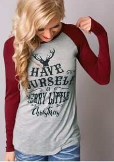 Christmas Reindeer Letter Printed Casual Blouse