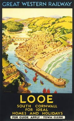 inch Photo Puzzle with 252 pieces. (other products available) - Looe, South Cornwall, for Ideal Homes and Holidays& GWR Poster, - Image supplied by National Railway Museum - Jigsaw Puzzle made in the USA Posters Uk, Train Posters, Railway Posters, Poster Prints, Retro Posters, Art Prints, British Travel, British Seaside, National Railway Museum