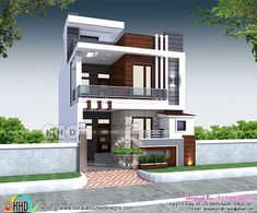 Minimalist Double Storey Residential Villa's by S. Consultants – Amazing A. Modern Small House Design, Modern Exterior House Designs, Simple House Design, 3 Storey House Design, Duplex House Plans, Bungalow House Design, House Outside Design, House Front Design, 20x40 House Plans