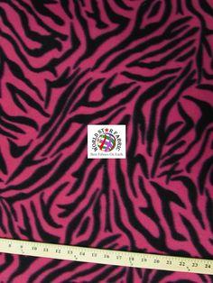 "#Fuchsia #Zebra Anti-pill #Fleece Fabric 60"" Width Sold By The Yard"