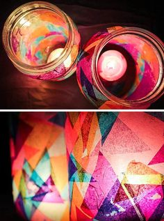 Making your own colorful garden DIY lanterns has never been easier: just use mason jars and candles, plus a special something for color. Baby Food Jar Crafts, Mason Jar Crafts, Mason Jars, Craft Projects, Crafts For Kids, Arts And Crafts, Paper Crafts, Mason Jar Candle Holders, Paper Paper