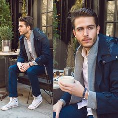 Adam Gallagher - Similar Here > Trench, White Shirt, High Tops, Finlay & Co Wooden Frames - Cafe Fleurs