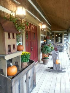our front porch.. autumn is here!!  tom and debbie