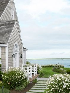 grey houses with white trim | dreamy beach house - love the gray with white trim! by sofia