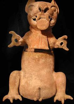 "Zapotec Sculpture of a Ferocious Feline - PF.0887  Origin: Veracruz, Mexico  Circa: 300 AD to 600 AD  Dimensions: 20"" (50.8cm) high  Catalogue: V4  Collection: Pre-Columbian  Medium: Terracotta"