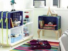 Bibliotecas para niños: fotos ideas DIY - Biblioteca con cajas de plástico