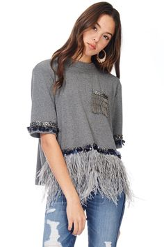 Grey embellished mock neck sweater