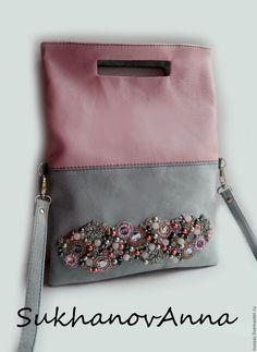 """Купить Сумка """"Серый лёд"""" - бледно-розовый, серый, серый и розовый, сумка кожаная"""