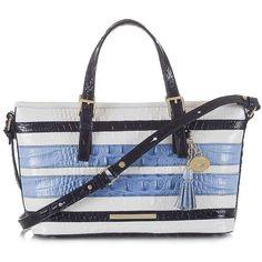 Brahmin Mini Asher Vineyard Shoulder Bag ($275) ❤ liked on Polyvore featuring bags, handbags, shoulder bags, regatta, mini purse, genuine leather purse, brahmin handbags, leather purse and white purse