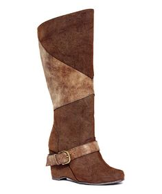 LOVE THESE!!!!!!! Brown Wedge BooTS!!! I WANT!!!   Size 8 Brown Kathleen Wedge Boot by MUK LUKS #zulily #zulilyfinds