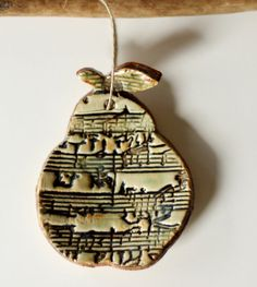 Musical Notes Pear Ornament Great for Thank You Gift or Holiday via Etsy