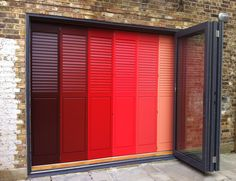 Coloured solid panels | #PlantationShutters Window Shutters Inside, Garage Doors, Boss, Creativity, Things To Come, Windows, Outdoor Decor, Beautiful, Color