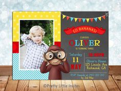 Hey, I found this really awesome Etsy listing at https://www.etsy.com/au/listing/246203152/curious-george-invitation-printable