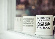 ✓ Happiness is a cup of coffee & a really good book.