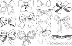 Bows & Ribbons Line Art + Silhouette by FishScraps on @creativemarket