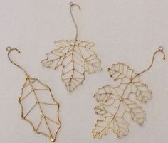 Wire Leaf Christmas Ornament Gold Tone Metal Hanging Decorations Lot Of 3