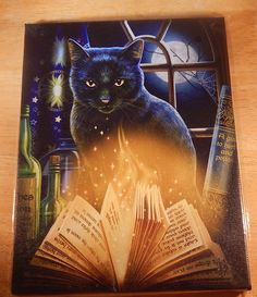 Black Cat Wall Plaque Art Print Lisa Parker Bewitched Moon Spell Kitty Magick