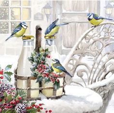 Bluetits 2 by The Macneil Studio Framed Art Illustrations, Illustration Art, Christmas Squirrel, Abstract Shapes, Christmas Pictures, Beautiful Paintings, Bird Art, Art Studios, Online Art