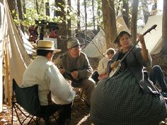 A blog - finally a little more information about the event. Civil war musicians playing around the camp | chloesblog.com