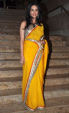 golden saree, mallika sherawat in saree, yellow saree% Yellow Saree, Latest Sarees, Bollywood Saree, Indian Ethnic Wear, Bollywood Celebrities, Fashion Company, Indian Sarees, Indian Outfits, Product Launch