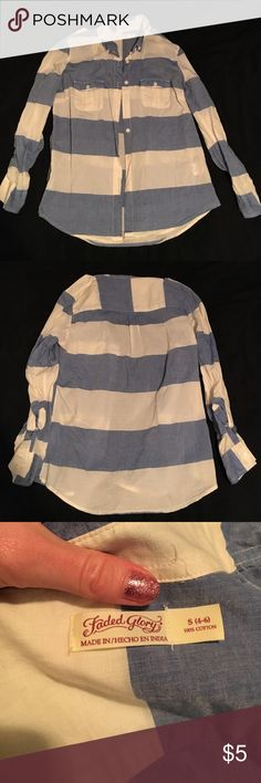 Striped Button Down Blouse. WORN ONCE. Brand: Faded Glory WORN ONCE for my birthday dinner! It is an absolute darling shirt and I wish I could keep it! Sleeves are rolled up in the picture. Tops Button Down Shirts