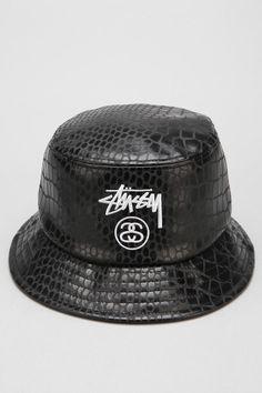 Stussy Croc Faux-Leather Bucket Hat