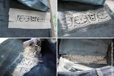 How to add lace insert to ripped jeans (using iron on transfer paper)