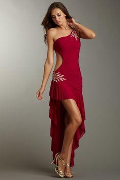 One Shoulder Open Side Ruffle Dress by La Femme on @HauteLook