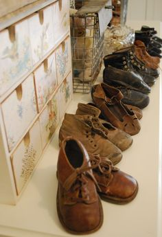 Sweet vintage baby shoes. I have some just like the ones at the front. Mine are German made and from the forties. They are so little and in perfect condition.